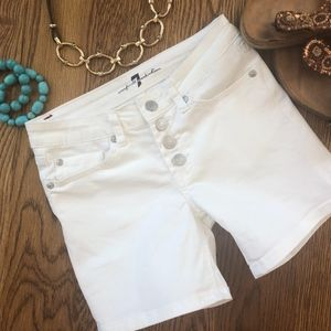 7 For All Mankind White Button Fly Stretch shorts